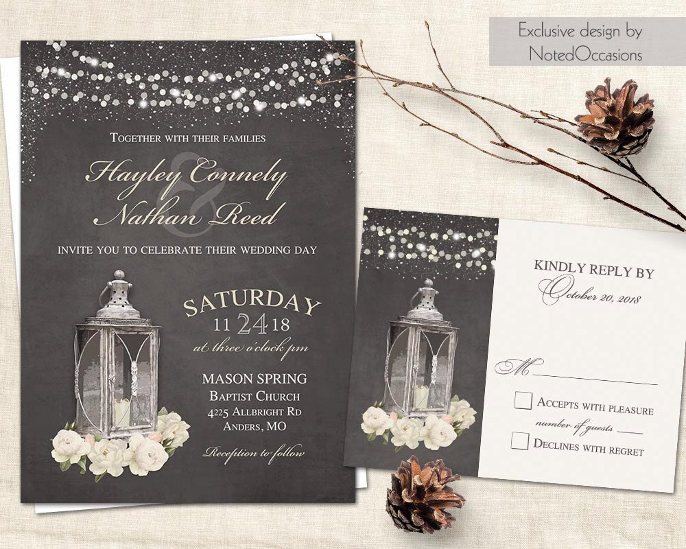 Printable Wedding Invitation Sets: Rustic Wedding Invitation Set Printable Vintage Metal Lantern