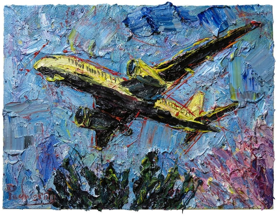 Oil Paint on Gallery Wrapped Stretched Canvas of 18 by 24 by 3/4 in. / plane flying pilot artwork landscape a original oil painting aviation