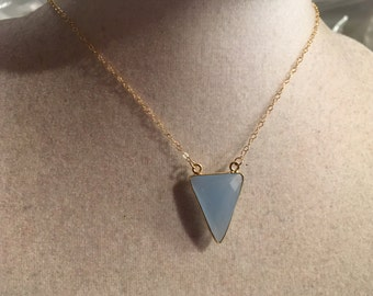 Blue Necklace - Chalcedony Gemstone Jewelry - Triangle Pendant - Gold Chain Jewellery - Fashion - Trendy