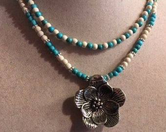 Turquoise Necklace - Multistrand - Flower Pendant - White Gemstone Jewelry - Silver Jewellery - Fashion