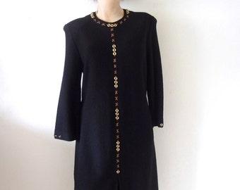 1980s Steve Fabrikant Dress - black wool blend knit a-line - designer vintage