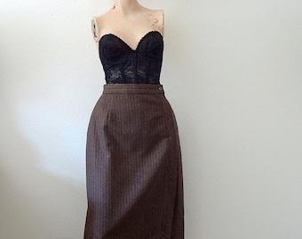 SALE - 1980s A-Line Skirt / pinstripe wool skirt / vintage fall & winter fashion