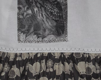OWL Towel with OWL Ruffle Fabric print, Brown tones, Kitchen Towel