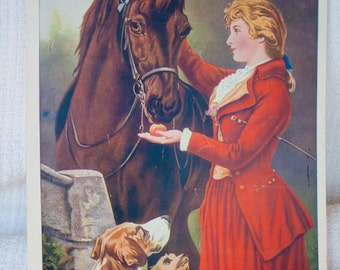 Vintage  Lithograph -THOUROUGHBREDS - W.C Co. Tyrone PA -, vintage art, 1920's, equestrian art, horse, dog, lady,