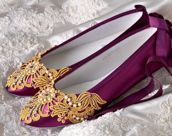 Wedding Shoes Womens Bridal Ballet Flats Gold Vintage Lace Elizabeth