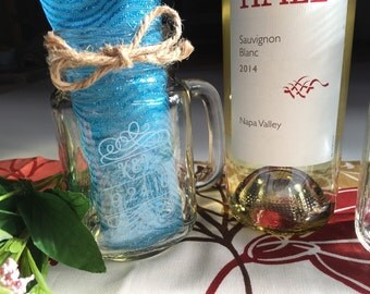 Two Mason Jar Mugs  Laser Engraved and Customized for You//weddings//bridesmaid gifts
