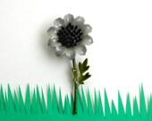 Vintage Enamel Flower Pin Brooch Enamel Grey Black Green 1960s Boho Hippie Fashion Spring Summer Retro Costume Jewelry