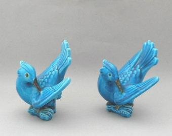 Vintage Ceramic Sculptures Two Birds Aqua Blue Glaze Artist Signed Modern Folk Art