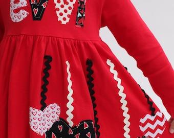 Valentine's Dress for Girls, Valentine Dress, Personalized Valentine Dress, Girl's Valentine Dress
