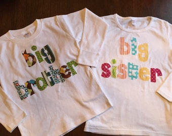 Big Bro Big Sis Shirt Set - Sibling Shirts,  Brother Sister Set -Pregnancy Announcement - Choose Color & Sleeve Length