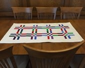 Nine Patch Rails runner, 4952-0, Quilted Table Runner, Scappy Table Runner, White Table Runner