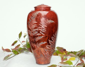 Red Fern Raku Urn,14.5 in. for Crematory Ashes, Handmade Wheel Thrown Decorative Niehaus Fine Art Pottery Home and LIving Mantel Art Decor