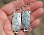 Big Statement Silver Earrings with Pearl Dangles. Organic Engraved, Crimped, Rectangle 925 Silver Sheet Earrings. Silver Jewelry. Israel