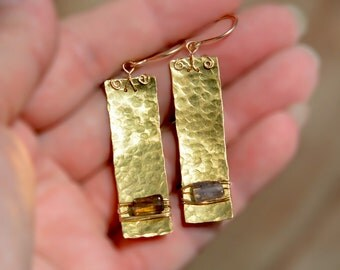 Brass Hammered Earrings Long Rectangle Earring+Iolite Bead Hammered Jewelry Handmade Metal Sheet Earring Gold Filled Ear Hooks Free Shipping