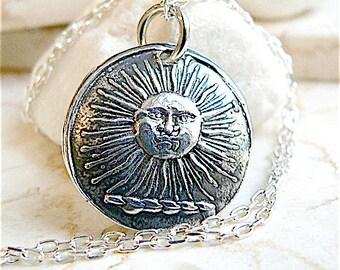 "Wax Seal Pendant, ""LOYAL"" Italian SUN Face Talisman,  Wax Seal Necklace Inspirational Jewellery,  Mens Jewelry, Heraldry,  yourdailyjewels"