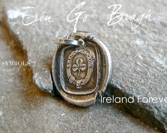 ERIN Go BRACH ~ IRELAND Forever Wax Seal Necklace Four Leaf Clover, Wax Seal Necklace . Sterling Silver  Irish Gift,
