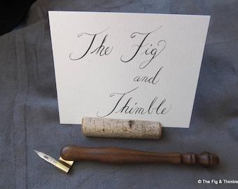 Oblique Carrot Style Pen Holder - Ipe Hand Turned Calligraphy Dip Pen Zanerian Flange