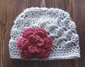Girl Crochet Hat, Newborn Girl Hat, Gray and Dark Pink Hat, Baby Girl Hat, Newborn Photography Prop, Girls Gray Hat, Baby Girl Beanie