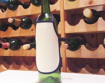 Blank Bottle Apron - Blue & White