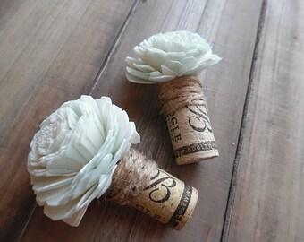 Ready to Ship  ~~~ Rustic Wine Cork Boutonniere, Mint Sola Flower, Twine, Burlap