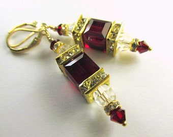 Marsala Dark Red Siam and Clear Swarovski Cube Earrings on 14k Gold Fill earring leverbacks