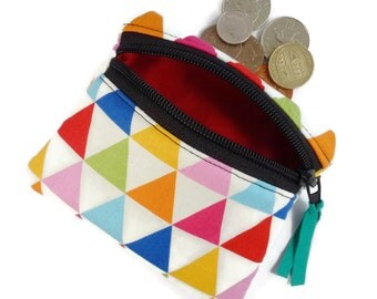 triangles coin purse, change purse, zipped pouch