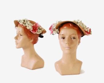 Vintage 30s Straw HAT / 1930s Natural Woven Straw Pink & White Floral Velvet Trim Hat