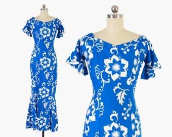 Vintage 60s HAWAIIAN DRESS / 1960s Blue & White Fitted Mermaid Hem Maxi Dress Xs - S