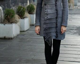 """Felt coat """"Fog"""", felted coat, grey coat, beautiful coat, elegant coat"""