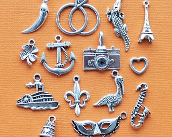 Cake Pull Charm Collection Antique  Silver Tone 14 Charms - COL110
