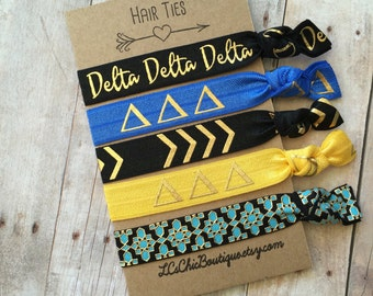 Boutique Elastic Hair Ties Delta Delta Delta  sorority 5 pack - awesome gift
