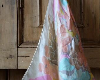 Vintage Kenneth Jay Lane Silk Scarf / Pastel Floral Retro Design / Fashion Scarf