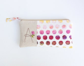 Monogram Clutch, Personalized Gift for Women, Pink Dot Monogram Bag, Zipper Pouch Letter A Gift under 50 READY TO SHIP by MamaBleuDesigns