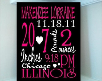 ON SALE Beautiful Personalized Baby GIRL Birth Announcement Subway art  8x10 wooden board sign