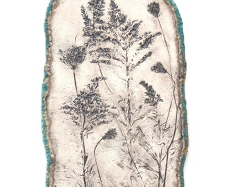 Botanical imprint Ceramic Wall Hanging Rustic Clay Wall Art Organic Pottery Home Accent Earthy Wildflower Home Decor  Ceramic Fine Art