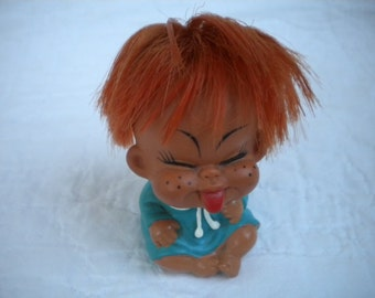 Cute naughty freckled vintage toddler doll made in Korea