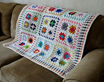 Crochet Baby Blanket, Granny Square Afghan,  Retro Style Nursery Decor, Multi Color Lap Throw, Toddler Blanket