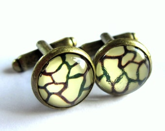 Black and Cream Cufflinks Giraffe Print Glass Brass Men Jewelry
