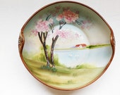 Nippon Moriage Porcelain Bowl Cherry Blossom Scenic Antique ON SALE