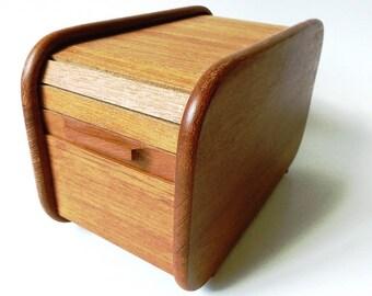 Teak Wood Tambour Roll Top Box, Vintage Floppy Disk Storage