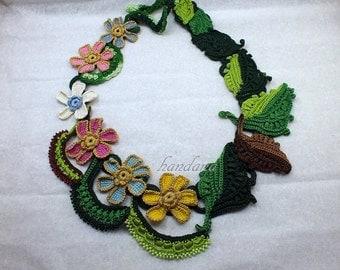 Crochet necklace, Crochet Jewelry, Crochet Flower Necklace