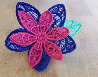 Embroidered Lace Flower Barrette Hair Clip