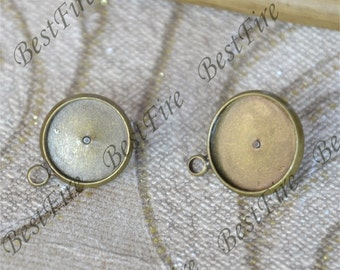 12pcs 12mm,14mm New style Antique brass Earring Posts With round Pad,Earring Stud,cabochon earring setting,Jewelry Making Findings