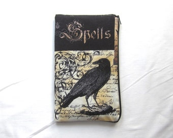 Raven Spells and Potions Fabric Zipper Pouch / Pencil Case / Make Up Bag / Gadget Pouch