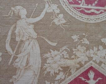 ANTIQUE FRENCH FABRIC  rare toile de jouy antique french linen