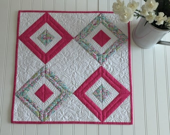 Spring Easter Table Topper Heavily Quilted Square Topper Bright Pink and Floral