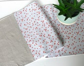 Table Runner -- Standard 90-inch -- Coral Dots on Light Grey and Natural Linen -- Ready to Ship