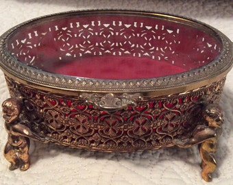 Large Vintage Gold Filigree JEWELRY CASKET Box Ormolu with Angel Babies Beveled Glass Footed