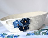 Cute Yarn Bowl, Handmade Rope Basket, Modern Clothesline Basket, Lovely Candy Bowl,  hand coiled natural rope basket