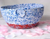 Blue Delft Basket, Handmade Red Remote Control Holder, Hand Coiled Fiber Basket, Blue Delft Makeup Brush Basket, Makeup Organizer
